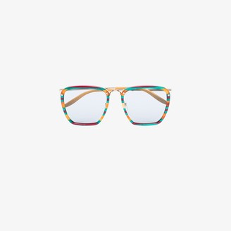 Gucci Brown And Green Square Tinted Sunglasses
