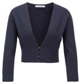 BOSS Slim-fit jacket with V neckline and hook closures