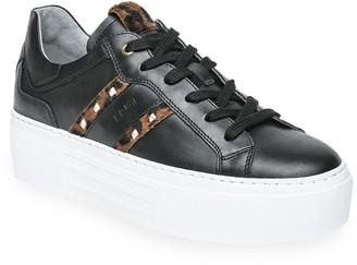 Nero Giardini Leopard-Print Stud Platform Skater Sneakers
