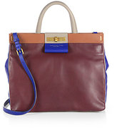 East End Colorblocked Leather and Suede Shopper