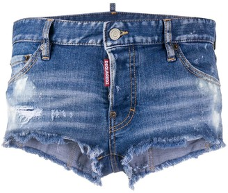 DSQUARED2 Destroyed Detail Low-Rise Denim Shorts