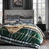 Luxe Plaid Print Duvet Quilt Cover 100-percent Pima Cotton Bedding Set Mid Century Modern Classic Large Scale Tartan Checkered Geo Pattern, Dark Green Black in Full Queen Size