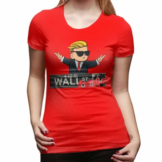 Tybroos Fashion Style Wall Street Bets Short Sleeve Classic Crewneck T-Shirt for Women Red