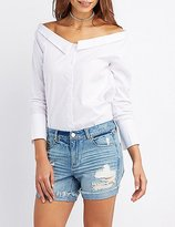 Charlotte Russe Off-The-Shoulder Button-Up Top