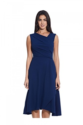 Adrianna Papell Soft Draped A-Line Dress In Navy