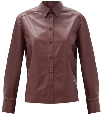 Salvatore Ferragamo Point-collar Leather Shirt - Burgundy