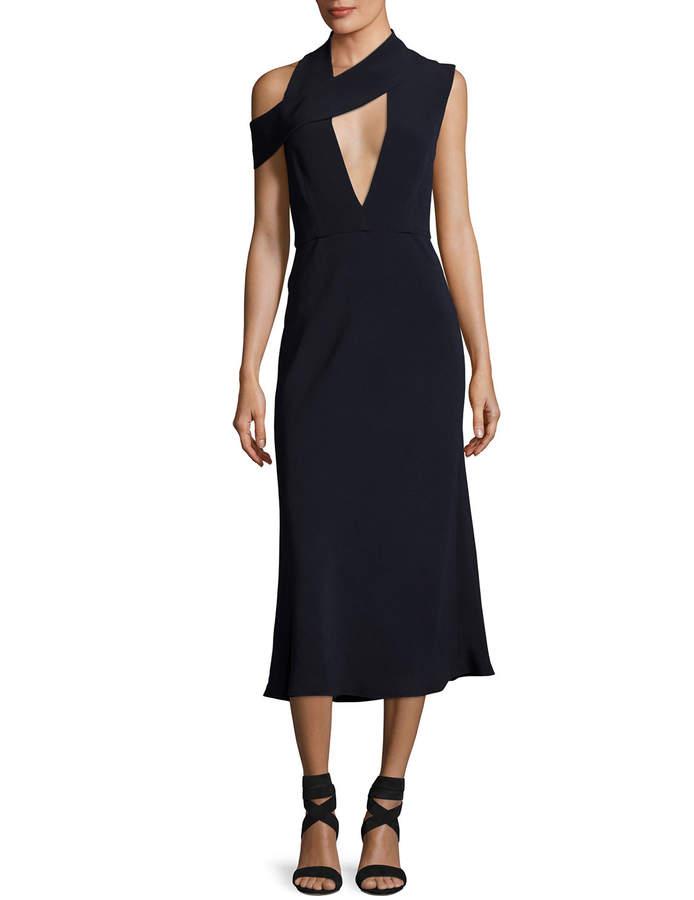 Cushnie et Ochs Cecelia Cutout Cold-Shoulder Midi Cocktail Dress