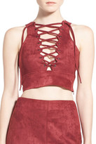 Missguided Lace-Up Faux Suede Crop Top