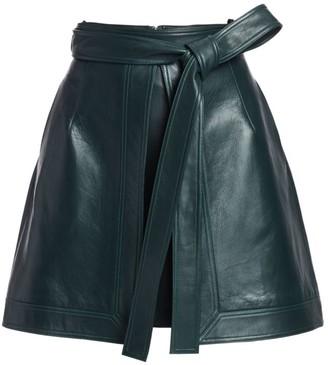 Oscar de la Renta Leather Front-Vent Mini A-Line Skirt