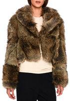 Stella McCartney Masha Faux-Fur Chubby Cropped Coat, Gray Fox