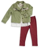 Nannette Little Girl's Embellished Jacket Shirt and Leggings Set