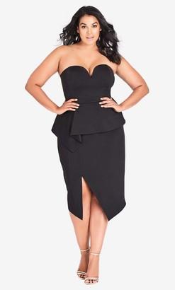 City Chic Black Screen Siren Dress Size 14/X-Small Polyester