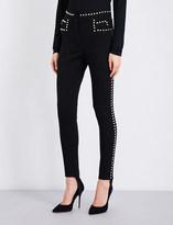 Balmain Stud-embellished skinny high-rise jeans