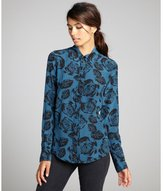 Winter Kate teal and black rose pattern long sleeved silk blouse
