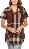Meaneor Women Casual Short Sleeve V-Neck Plaid Shirts Pullover Top M