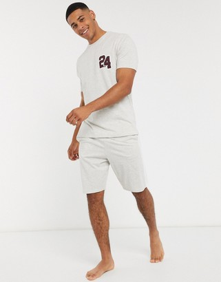 Asos DESIGN lounge pyjama short and tshirt set with collegiate number and branded waistband in gray