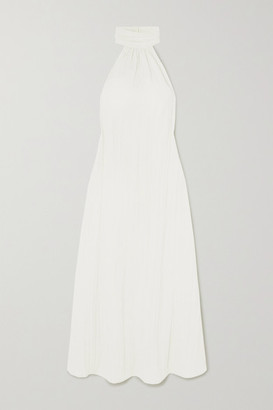 The Line By K Kaito Crinkled Linen-blend Halterneck Midi Dress - White