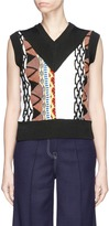 Aalto 'Coogi' ethnic pattern mixed knit gilet