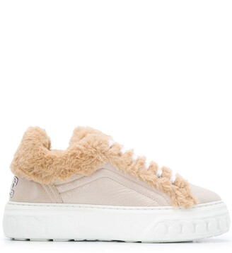 Casadei Shearling Trim Sneakers