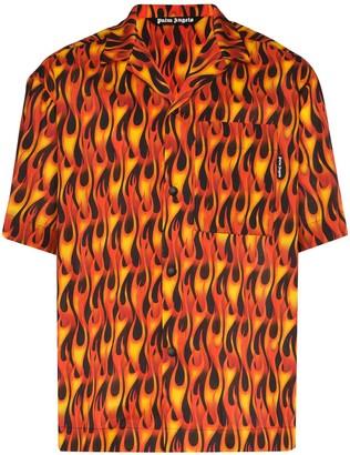 Palm Angels Flame-Print Bowling Shirt
