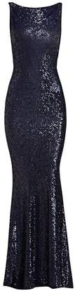 Naeem Khan Cowl Back Sleeveless Sequined Gown