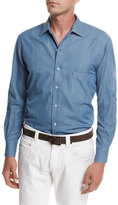 Loro Piana Cotton Flannel Chambray Shirt, Medium Blue