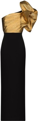SOLACE London Iyana statement-sleeve evening gown