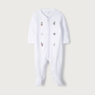 The White Company Organic Cotton London Bear Embroidered Sleepsuit, White, 12-18mths