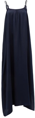 Loup Charmant Amelia Tie-straps Silk Maxi Dress - Dark Blue