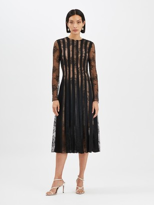 Oscar de la Renta Lace and Satin Cocktail Dress