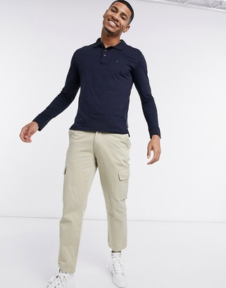 French Connection long sleeve polo in navy