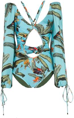 PatBO tropical-print long-sleeved swimsuit