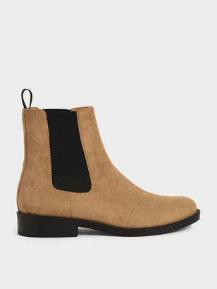 Charles & Keith Textured Round Toe Chelsea Boots