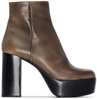 Miu Miu Brown 110 Leather Platform Ankle Boots