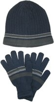 CTM® Men's Knit Striped Beanie and Gloves Winter Set