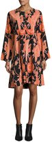 Creatures of the Wind Bird-Print Henley Dress, Black/Red