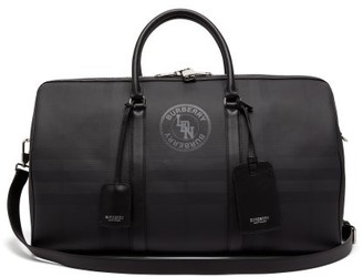 Burberry London Check Coated Canvas And Leather Holdall - Mens - Grey