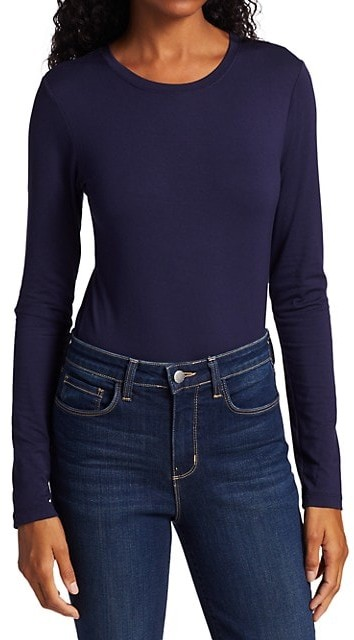 Thumbnail for your product : L'Agence Tess Crewneck Long-Sleeve T-Shirt
