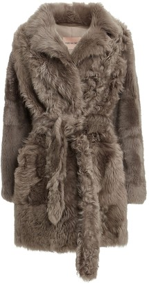 Yves Salomon Belted Curly Shearling Coat