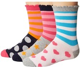 Jefferies Socks Stripes/Dots/Hearts/Stars Crew Socks 3-Pair Pack Girls Shoes
