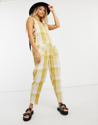 Free People Don't You Want This gingham jumpsuit in green
