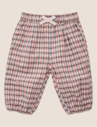 Marks and Spencer Pure Cotton Checked Trousers (0-3 Yrs)