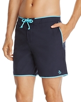 Original Penguin Earl Solid Swim Trunks with Contrast Piping