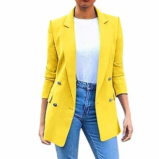 Lazzboy Women Blazer Suit Coat Solid Lapel Casual Loose Double Breasted Shoulder Pads Elegant Workwear Newchic Fashion Jacket Cardigan Outwear (M(12)