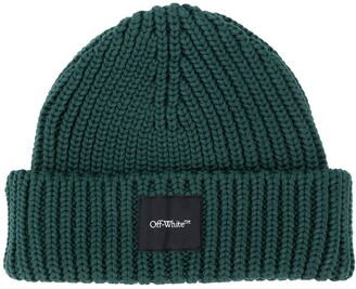 Off-White Logo-Patch Ribbed Beanie