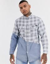 Liquor N Poker denim shirt with check splice in blue wash
