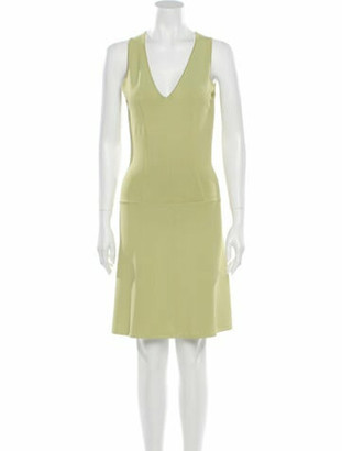 Alaia V-Neck Knee-Length Dress Green