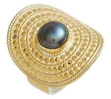 Anna Beck Genuine Blue Pearl Shield Ring