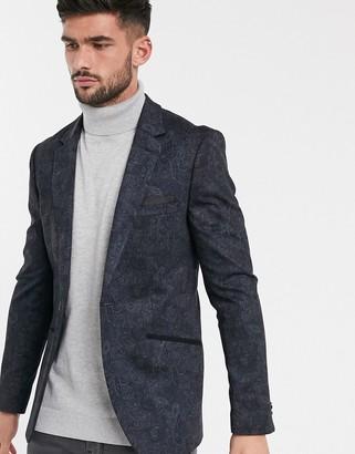 Burton Menswear jersey blazer in paisley print-Navy