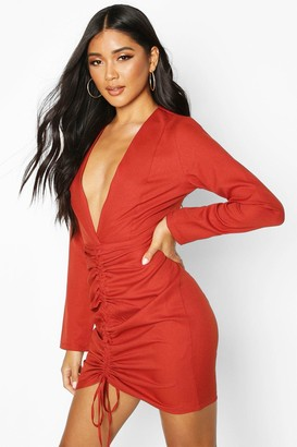 boohoo Woven Plunge Rouche Front Mini Dress